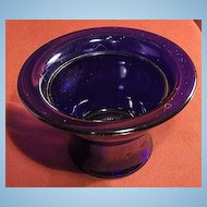 Small Flared Edge and Footed Cobalt Glass Bowl