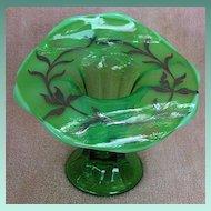 Duncan & Miller Silver Overlay Green Glass Jack in the Pulpit Vase