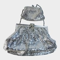 Whiting and Davis Silver Mesh Evening Bag Metal Evening Bag and Change Purse