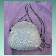 Walborg Gold Sequined and White Beaded Evening Shoulder Bag