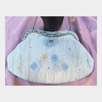 White and Blue Seed Pearl Evening Bag