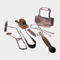 Lot of Kitchen Utensils with Knife Sharpener, Chopper and Ice Tongs