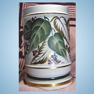 Unusual Hand Painted Porcelain Half Shade Accent Lamp Green and Gold Leaves Purple Flowers