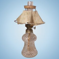 Miniature Clear Glass Bead Swirl P&A Mfg. Acorn Table Top Oil Lamp Paper Shade