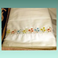 Vintage 1950's Embroidered Fabric Border Birds and Flowers