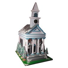 Schmid 1983 Wooden Christmas Church Music Box Plays on the Street Where You Live
