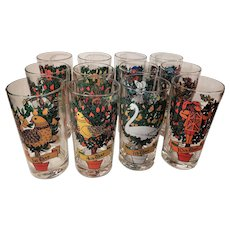 Set of 12 Twelve Days of Christmas Drinking Glass Tumblers Original Box