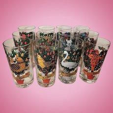 Set of 12 Twelve Days of Christmas Drinking Glass Tumblers Original Box