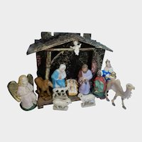 Vintage German Nativity Creche Stable and Figures