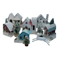 6 Putz Christmas Village Houses with Bottle Brush Trees