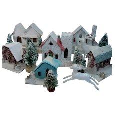 6 Putz Christmas Village Houses with Bottle Brush Trees