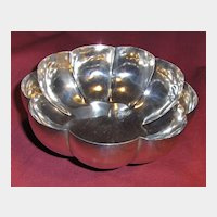 Large Elegant Sterling Silver Fluted Footed Bowl