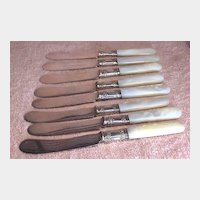 Set of 8 Antique Sterling and Mother of Pearl Desert Knives