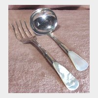 Early Sterling Silver and Mother of Serving Fork and Ladle Set