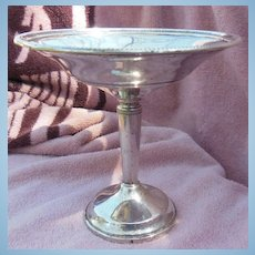 Tall Sterling Silver Compote Ribbed Rim