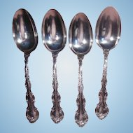 Set of Four 19th Century Gorham Sterling Silver Serving Spoons Strasbourg Pattern