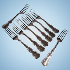 Set of Eight 19th Century Whiting Sterling Silver Dinner Forks Louis XV Pattern