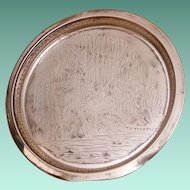 "Rockford Quadruple Silver Plate 10"" Round Tray Moses in the Rushes Pattern 415"