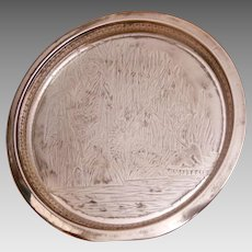 """Rockford Quadruple Silver Plate 10"""" Round Tray Moses in the Rushes Pattern 415"""