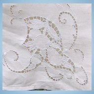 Cutwork and Embroidered Off White Rectangular Tablecloth