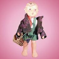 Vintage Eingetr Warenz Vinyl Hummel Werk Boy Doll with Basket