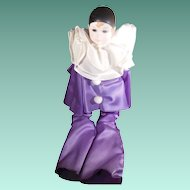 Vintage Russ Pierrot Porcelain Doll Purple Outfit in Original Box