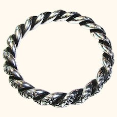 Antique Victorian Repoussé Sterling Entwined Bangle Bracelet c.1887