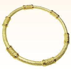 Crown Trifari Golden Rope Bangle Bracelet