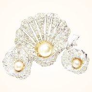 Vintage Bellini Rhinestone and Rhodium Plated Seashell Brooch and Earrings (Updated Listing)