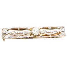 Frank Krementz Art Deco 14K Yellow and White Gold filigree Diamond  Bar Pin