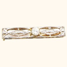 Frank Krementz Art Deco 14K Yellow and White Gold filigree Diamond  Bar Pin