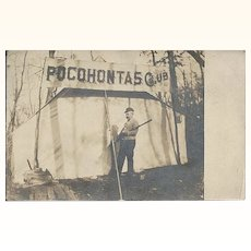 Antique 1911 Real Photo Post Card of Pocohontas / Pocahontas Club