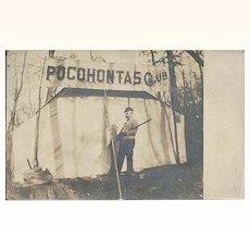 Antique 1911 Real Photo Post Card of Pocohontas / Pocahontas Club