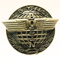 10K Gold Boeing Aeronautics 5 Year Service Pin or Tack