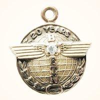 Vintage 10KGF and Diamond Boeing Aeronautics 20 Year Service Charm