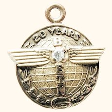 Vintage 10KGF and Diamond Boeing Aeronautics 20 Year Service Charm