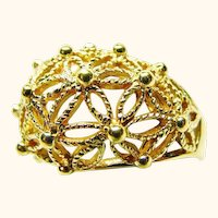 Domed Open Wire-Work Flower Burst Fashion Ring By AVON
