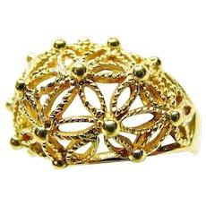 Domed Open Wire-Work Flower Burst Fashion Ring By AVON