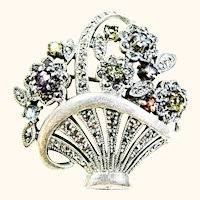Gemstone and Marcasite Sterling Flower Basket Brooch Heirloom 73 Vintage Creations piece by Shapiro