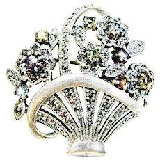 Gemstone and Marcasite Sterling Flower Basket Brooch Heirloom 73 Vintage Creations piece by Shapiro
