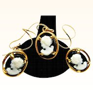 Signed Vintage Solid Cast Napier Cameo Necklace and Earrings