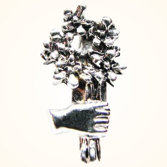 Miniature Vintage Lapel Pin Friendships Hand with Flowers in Silver-tone