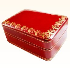 Deep Red and Gold Foil Embossed Italian Leather Trinket Box / Fully Lined