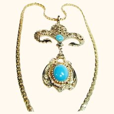 Faux Gold and Turquoise articulated Costume Pendant