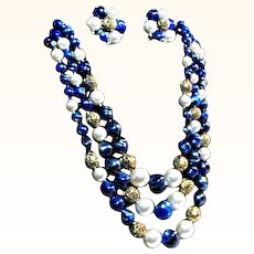 Vintage Lisner 3 Strand Necklace and Earrings in Royal Blue / Gold and White