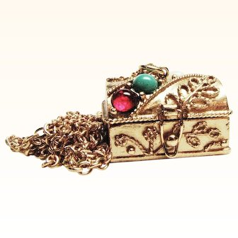 Queens Ransom Treasure Chest Pendant / Pill Box by Avon with Added Treasure Inside