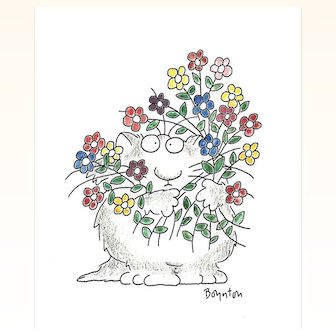 Sandra Boynton Original Print Cat With Flowers (c) 1990