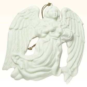 Vintage Bisque Porcelain Angel Ornament