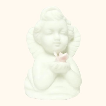 ARDALT 50's Bisque Angel Bell Ornament with Christmas Rose