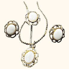 Vintage 3 Piece Fashion Set with Faux Opals